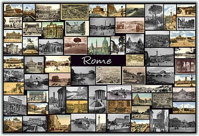 Old Rome Collage Art Print by Janos Kovac