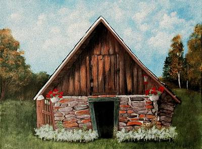 Stone Buildings Digital Art - Old Root House by Anastasiya Malakhova
