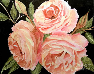 Painting - Old Roses In The Garden by Carol Grimes