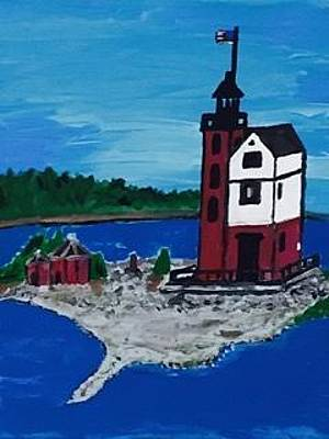 Painting - Old Round Island Point Lighthouse In The Shipping Lanes Of The Straights Of Mackinac  by Jonathon Hansen