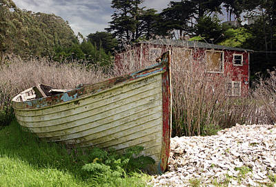 Photograph - Old Row Boat On Land In Bodega Bay by Eleanor Caputo