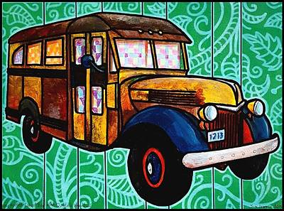 Painting - Old Rusted School Bus With Quilted Windows by Jim Harris