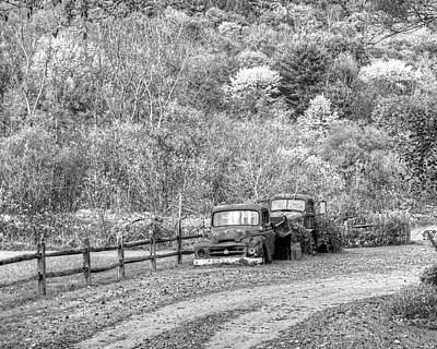 Photograph - Old Rusted Trucks Bethel Vermont Vt New England Foliage Autumn Trees Black And White by Toby McGuire