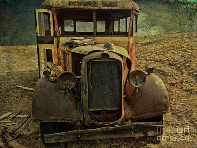 Photograph - Old Rusted Wrecked Bus  by Liane Wright