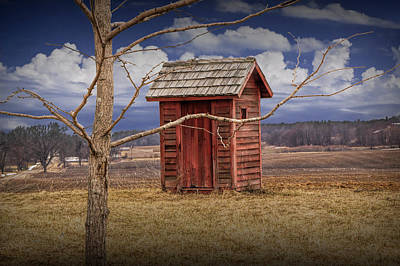 Randall Nyhof Royalty Free Images - Old Rustic Wooden Outhouse in West Michigan Royalty-Free Image by Randall Nyhof