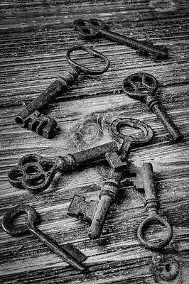 Photograph - Old Rusty Black And White Skeleton Keys by Garry Gay