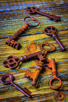 Photograph - Old Rusty Colorful Skeleton Keys by Garry Gay
