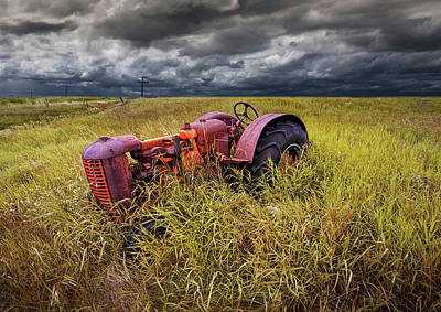 Photograph - Old Rusty Farm Tractor Abandoned On The Prairie by Randall Nyhof