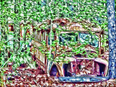 Old School Bus Painting - Old Rusty School Bus by Lanjee Chee