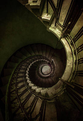 Photograph - Old Rusty Spiral Staircase by Jaroslaw Blaminsky