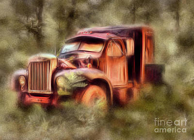 Painting - Old Rusty Truck In The Woods - Jocassee Ap by Dan Carmichael