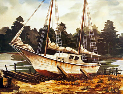 Water Scene Painting - Old Sailboat In Drydock by Raymond Edmonds