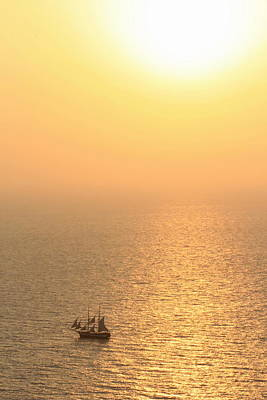 Photograph - Old Sailing Boat At Sunset by Elenarts - Elena Duvernay photo