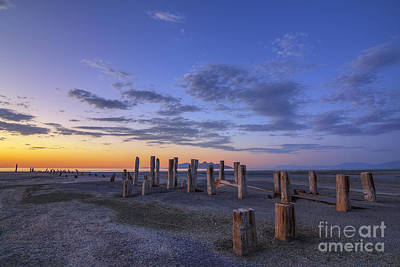 Old Saltair Posts At Sunset Art Print