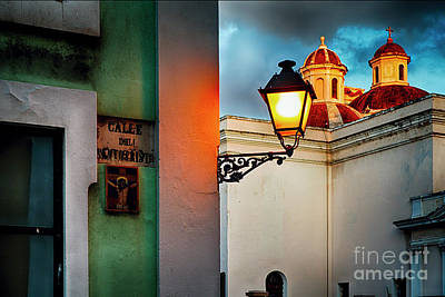 Old San Juan Street Corner With A Cathedral Art Print