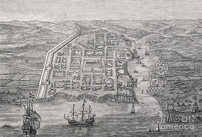 Harbor Drawing - Old Santo Domingo City by English School