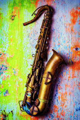 Saxophone Photograph - Old Sax On Worn Table by Garry Gay