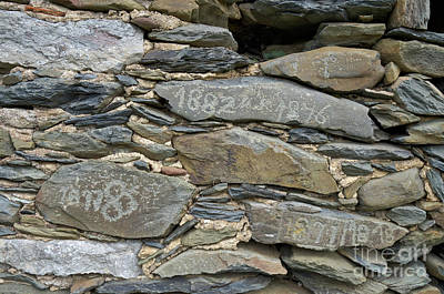 Europe Photograph - Old Schist Wall With Several Dates From 19th Century. Portugal by Angelo DeVal
