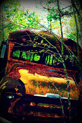 Old Trucks Mixed Media - Old School Bus by Dana  Oliver
