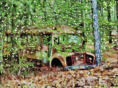 Old School Bus Painting - Old School Bus by Lanjee Chee