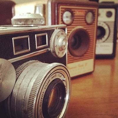 Retro Wall Art - Photograph - Old School Cameras by Nancy Ingersoll