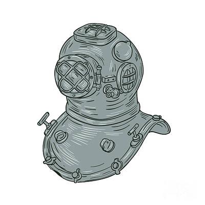 Diving Helmet Digital Art - Old School Diving Helmet Drawing by Aloysius Patrimonio