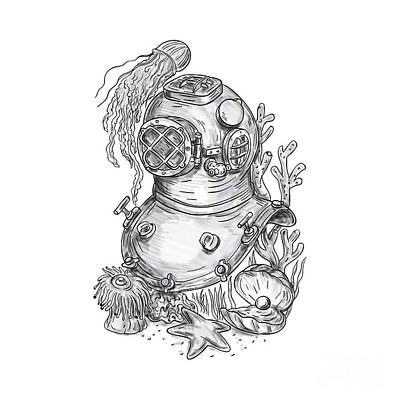 Old School Diving Helmet Tattoo Art Print by Aloysius Patrimonio