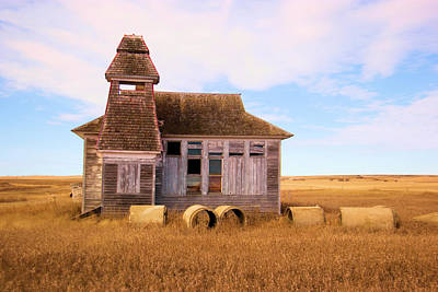 Birds Rights Managed Images - Old School House in North Dakota Royalty-Free Image by Jeff Swan
