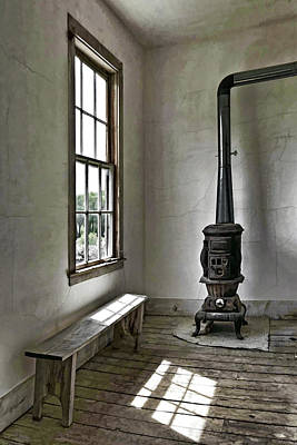 Old School House Stove Art Print by Wes and Dotty Weber