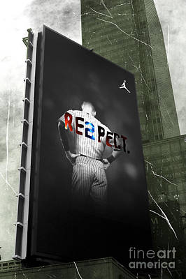 Derek Jeter Digital Art - Old School Respect by John Rizzuto