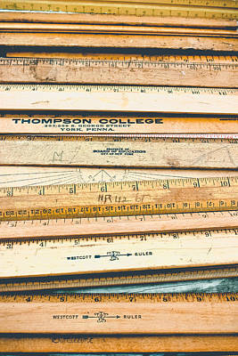 Photograph - Old School - Wooden Rulers by Colleen Kammerer