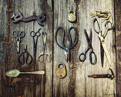 Old Stuff Digital Art - Old Scissors And Stuff by Anna Louise
