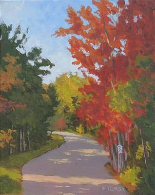 Painting - Old Scoolhouse Road Fall by Bill Tomsa