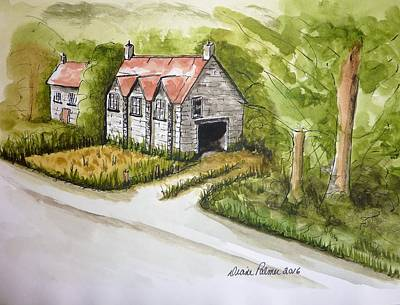 Old Barn Pen And Ink Painting - Old Scottish Stone Barn by Diane Palmer