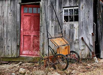 Photograph - Old Shed Red Door And Pony Cart by Betty  Pauwels