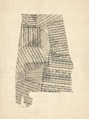 Digital Art - Old Sheet Music Map Of Alabama by Michael Tompsett