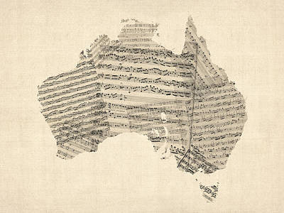 Old Sheet Music Map Of Australia Map Art Print by Michael Tompsett