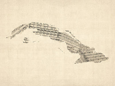 Digital Art - Old Sheet Music Map Of Cuba by Michael Tompsett