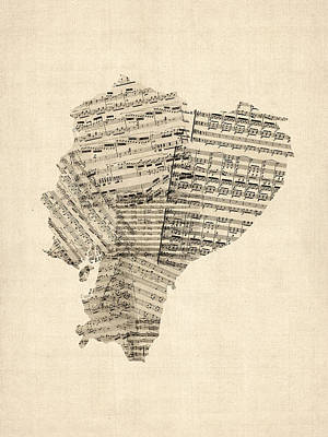 Old Sheet Music Map Of Ecuador Map Art Print by Michael Tompsett