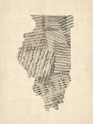 Digital Art - Old Sheet Music Map Of Illinois by Michael Tompsett