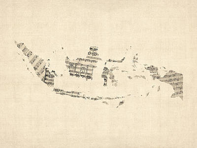 Sheet Music Digital Art - Old Sheet Music Map Of Indonesia Map by Michael Tompsett