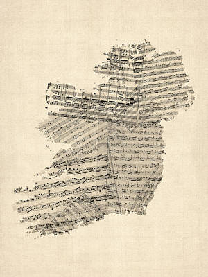 Old Sheet Music Map Of Ireland Map Art Print by Michael Tompsett