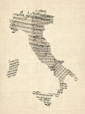 Old Sheet Music Map Of Italy Map Art Print by Michael Tompsett