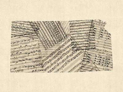 Digital Art - Old Sheet Music Map Of Kansas by Michael Tompsett