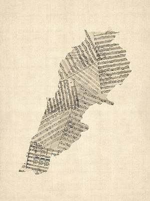Cartography Wall Art - Digital Art - Old Sheet Music Map Of Lebanon by Michael Tompsett
