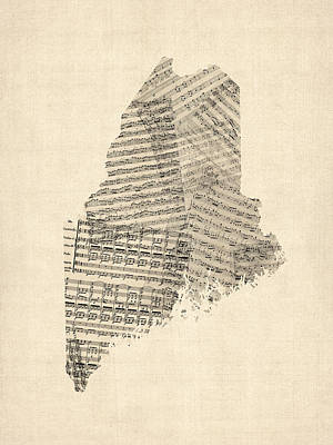 Digital Art - Old Sheet Music Map Of Maine by Michael Tompsett