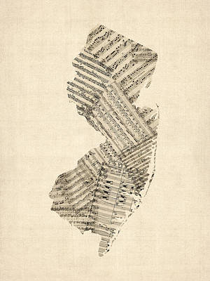 Cartography Wall Art - Digital Art - Old Sheet Music Map Of New Jersey by Michael Tompsett