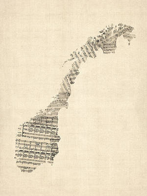 Old Sheet Music Map Of Norway Art Print by Michael Tompsett
