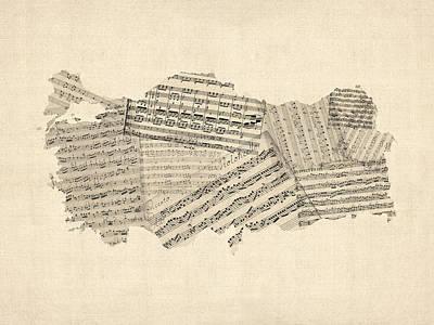 Digital Art - Old Sheet Music Map Of Turkey Map by Michael Tompsett