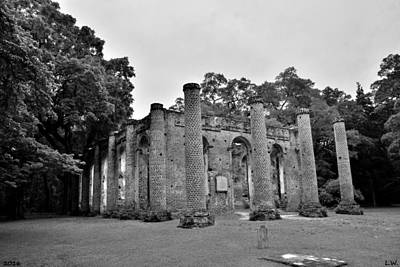 Photograph - Old Sheldon Church Ruins Beaufort Sc Black And White 2 by Lisa Wooten